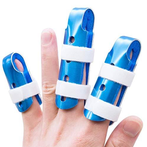 Sumifun Férula de dedo, 3 tamaños de Soporte para dedos de dedo de mazo de dedo ortopédico para dedo roto, dedo torcido, protección de lesiones de dedo para deportivas, artritis, esguinces de dedos