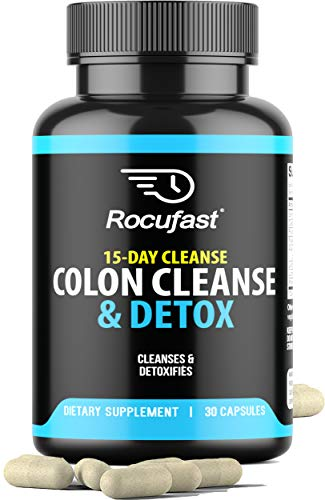Rocufast Colon Cleanse and Detox 15 Day Quick Detox Colon Cleanser - Eliminate Toxins with Effective Total Detox Cleanse and Boost Energy with Our Super Colon Cleanse Gut Health Supplement 30ct