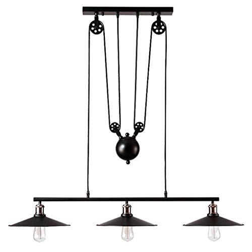 Riemenscheibe Ausgesetzt Pendelleuchte Vintage Industrie Black Metall Hängeleuchten E27 Pendellampe Deckenleuchte Antik Kronleuchter Für Kitchen Bar Flur Esszimmer Beleuchtungskörper Hängelampe