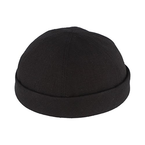 Bullani Sommer Docker-Cap | Dockermütze | Seemannsmütze aus 100% Leinen – Made IN Germany – Schwarz - Gr- 59