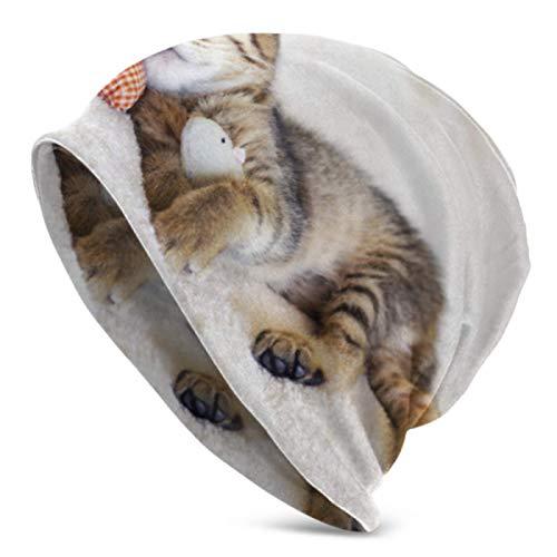 AEMAPE Gorros para hombres y mujeres, pequeño gatito rojo almohada ratón Beanie Cap elástico suave Beanie Cap