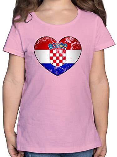 Fußball-Europameisterschaft 2021 Kinder - Kroatien Vintage Herz - 128 (7/8 Jahre) - Rosa - Kroatien Trikot - F131K - Mädchen Kinder T-Shirt