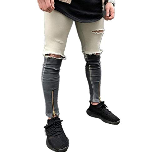 Heren Destroyed Look jeans broek biker jeansbroek denim Moderne casual vrijetijdsbroek casual stijl jeans joggingbroek heren slim fit