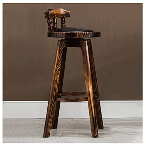 LZL Bar Stools Rotatable Solid Wood Stylish Fabric Counter Height Stools Resilience Sponge, Comfortable Backrest, Padded Seat