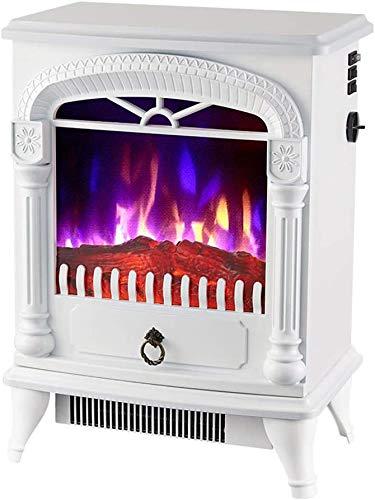 J & J Chimenea eléctrica, Independiente portátil Chimenea eléctrica, calefacción Calentador, Simulación de 3-Color de la Llama de simulación,Blanco