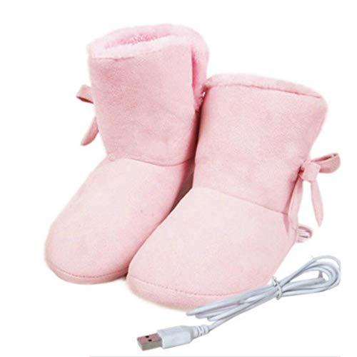 Zapatos De Calefacción Eléctrica USB, Zapatillas De Terciopelo Suave De Alta Ayuda Calentador De Pies Todo Incluido Almohadilla Caliente Lame Removible Oficina De Invierno Cálida Botas 24cm