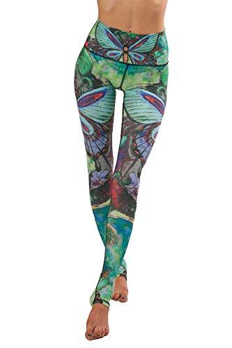 YACUN Sport Leggings Damen Elastische Capri Yoga Hose Bunt Fitness Sportleggins Leggins Gym Grün M