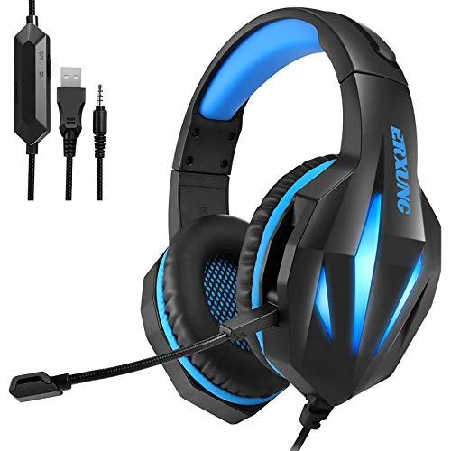 Auriculares Auriculares Auriculares Auriculares con Cable Ordenador E-Racing Auriculares Brillantes Auriculares Cable de Transferencia Negro y Azul Plus
