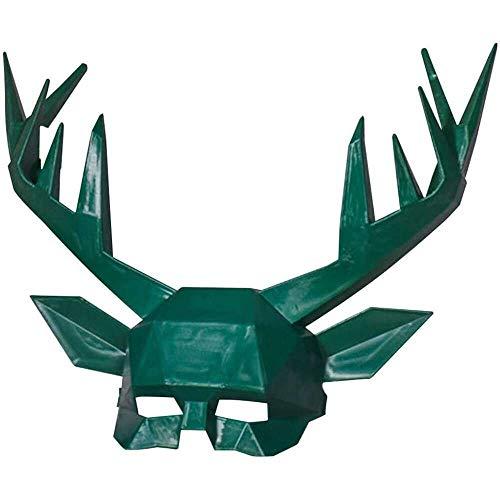 Yuyanshop Mscara de cornamenta de Halloween, disfraz de cosplay de ciervos animales, mscara de media cara, suministros para fiestas, pesadilla antes de Navidad (verde)