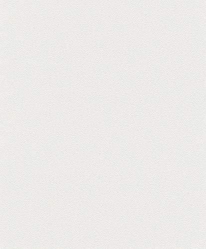 Rasch Tapete 780703 – Einfarbige Vliestapete in Creme-Weiß mit körniger Struktur – 10,05m x 53cm (L x B)