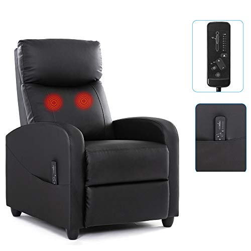 Recliner Chair Massage Recliner Sofa Home Theater Seating Wing Back Single Living Room Reclining Sofa PU Leather Modern Reading Chair Easy Lounge with Padded Seat Backrest