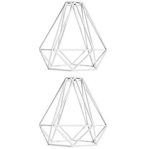 Baoblaze Lot de 2 Suspensions de Salon En Forme de Diamant Rétro avec Abat-jour Cage Blanc, 20 X 20 Cm