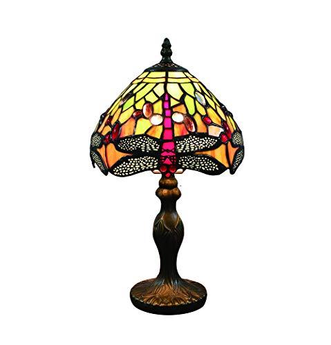 Tokira Vintage Tiffany Tischlampen Rot Orange Libelle 8 Zoll, Tiffany Tischlampe Antik Original, Glasmalerei Lampen Schlafzimmer Nacht Lampenschirme Wohnzimmer