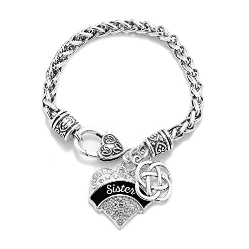 Inspired Silver - Black and White Sister Celtic Knot Braided Bracelet for Women - Silver Pave Heart Charm Bracelet with Cubic Zirconia Jewelry