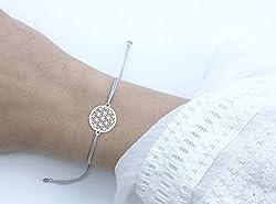 SCHOSCHON Damen Blume des Lebens Armband Silber-Hellgrau 925 Silber // Lebensblume Schmuck Geschenk Frauen Freundin Tochter