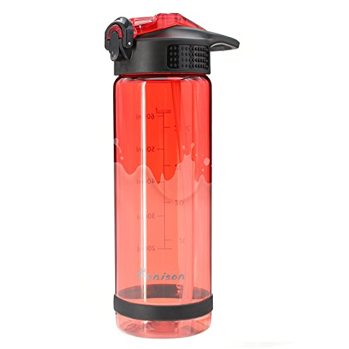 Bonison 26 OZ Water Bottle with Straw BPA Free Shaker Bottle Protein Powder Mixing Bottle with Lid Lock-Easy One Hand Operate Sport Bottle-Red
