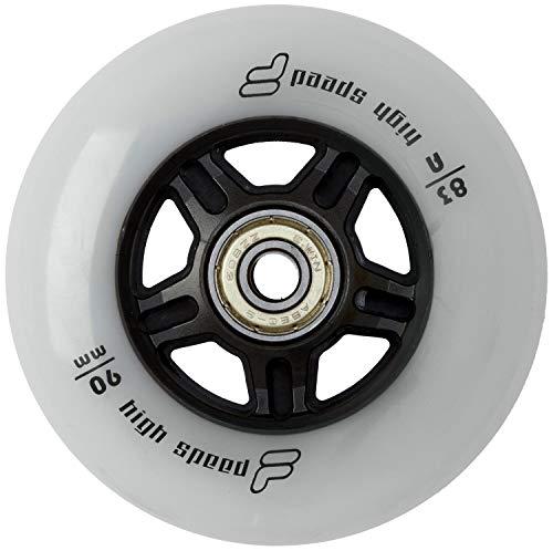 Fila Wheels 90mm/83A + ABEC9+ Aluminio Spacer Ruedas de 8mm, Color Blanco