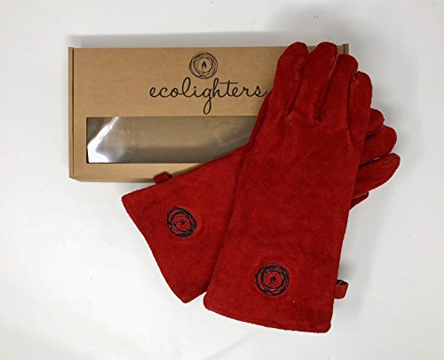 Premium 100% Leather Gloves - Lined Welders Gauntlets - Heat Resistant & Flame Retardant - Supple Lined Leather- BBQ, Stove, woodburning Gloves Welding - 1 Pair in Gift Box (Red)