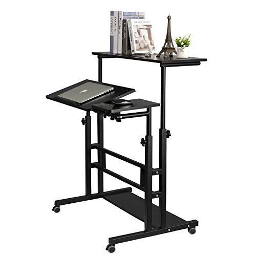 SIDUCAL Mobile Standing Desk, Rolling Ajustable Computer Desk, Mobile Computer Workstation Laptop Cart with Wheels Home Office for Stand Up, Black