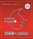 Vodafone Prepago 25GB + Llamadas ilimitadas Nacionales Roaming Europa y EEUU