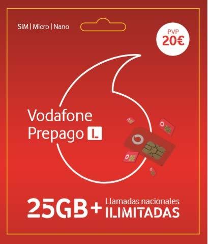 Vodafone Prepago 25GB + Llamadas ilimitadas Nacionales Roami