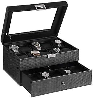 BEWISHOME SSH04BW - Caja organizadora de relojes para 20 hombres, bisagras de metal, piel sintética, parte superior de cristal, soporte grande