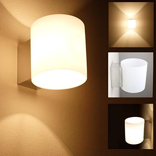 Wandleuchte aus Glas weiß inkl. Leuchtmittel wechselbar | Glas-Wandlampe rund Ø 9,8 cm | Leuchte...