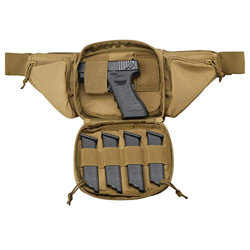 FRTKK Concealed Carry Pistol Pouch Ultimate Fanny Pack Holster Fits 1911, Glock, H&K, Ruger, S&W M&P Shield, Taurus, Sig Sauer, Springfield, Beretta, Kimber, Walther, and More (Tan)