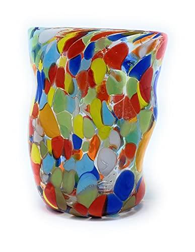 GOTO Vaso Único Coloreado Vidrio de Murano 180 mililitros, Hecho a Mano por un Maestro Vidriero Veneciano (Colección Botero)