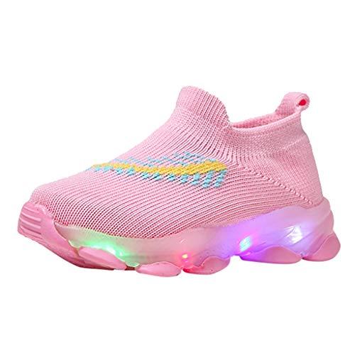 Posional LED Mode Basket Chaussures de Sport, Bébé Feather Mesh LED Chaussettes Lumineuses Run Casual Basketball Montantes Chaussure de Course Sneakers-Rose-Mixte Enfant,Enfants Garçon Fille