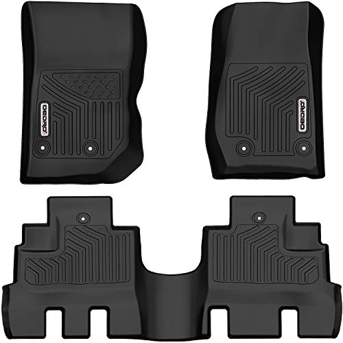 oEdRo Floor Mats Compatible for 2014-2018 Jeep Wrangler JK Unlimited JKU 4 Door (Not for 2 Door and JL Models), Black TPE All Weather Guard, 1st & 2nd Row Floor Liners