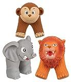MIK Funshopping Juego de 3 marionetas de dedo de silicona suave, animales de la selva, joven, león, elefante, mono, mono, aprox. 7 cm