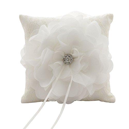 Ringkissen creamweiß elegantes Ehering Kissen mit großer Blume Strass - 5.9 Quadratzoll