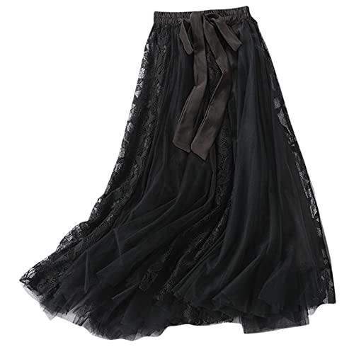 Women's Tulle Fairy Skirt Mesh Puffy Tutu A-line Flared Long Bow Elastic High Waist Swing Big Hem Maxi Skirts Black