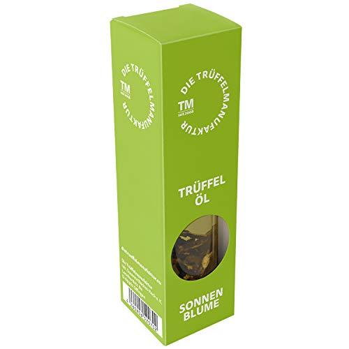 Die Trüffelmanufaktur - Feinkost Trüffelöl (Sonne) mit 10 g echtem frischen schwarzem Trüffel, Gourmet-Sonnenblumenöl kaltgepresst, die Delikatesse für Feinschmecker, Schwarztrüffel-Öl á 90 ml