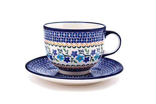 Original Bunzlauer Keramik Tasse mit Untertasse (Milchkaffeetasse) 0.5 Liter Dekor 1154a