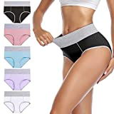 wirarpa Women's Cotton Underwear High Waist Panties Ladies Soft Breathable Briefs Full Coverage Underpants 5 Pack XX-Large