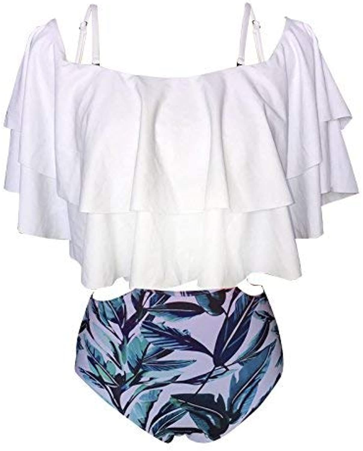 Lotus Leaf Edge Shorts Swimsuit Stamp Shorts Slotted Shoulder Bikini Swimsuit, White,XXL (color   As Shown, Size   One Size)