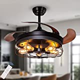 Ohniyou 42'' Industrial Ceiling Fan with Lights Remote Control 5-Light Vintage Retractable Black Cage Flush Mount Ceiling Fan Lighting Fixture for Kitchen, Bedroom, Living Room, Dining Room, Farmhouse