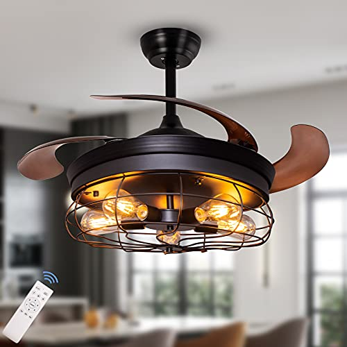 Ohniyou 42'' Industrial Ceiling Fan with Lights Remote...