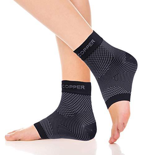 Thx4COPPER Tobillera de compresión ajustable para dolor de tobillo, hinchazón, tobillos escondidos, tendinitis de Aquiles, espolón calcáneo, tobilleras unisex 1 par