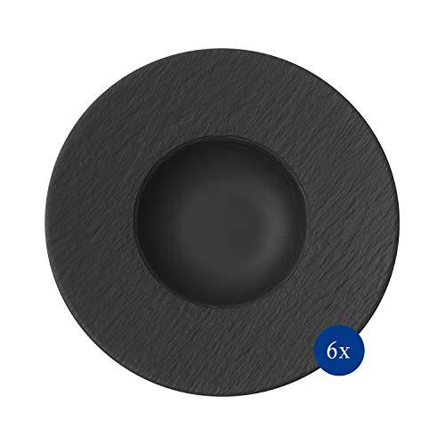 Villeroy & Boch - Manufacture Rock, piatto per la pasta, 6 pezzi, 28 cm, Porcellana Premium, lavabile in lavastoviglie, adatto al microonde, nero