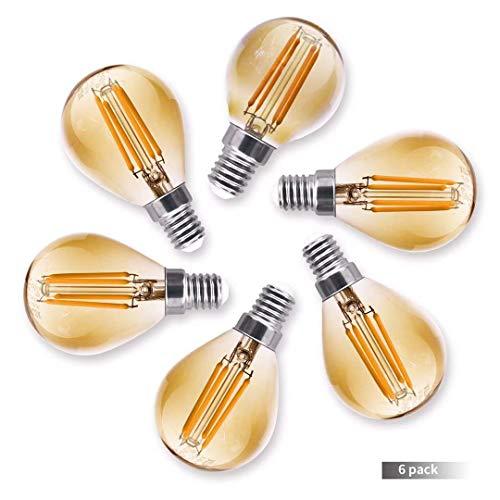 Royalux LED Edison Glühbirne Vintage Filament Licht Antik Stil 4 W (entspricht 40 W Glühbirnen), E14 ES Schraube Golfball Sockel G45 Warmweiß 2700 K 6er Pack [Energieklasse A+] dimmbar
