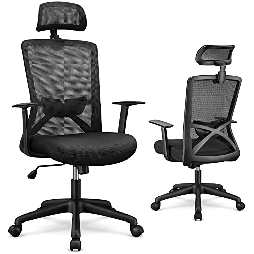Yaheetech High-Back Black Mesh Swivel Ergonomic Executive Office Chair, Computer Chair with Lumbar Support Armrests and Adjustable Headrest, Comfortable Task Desk Chair, for Conference Office Home