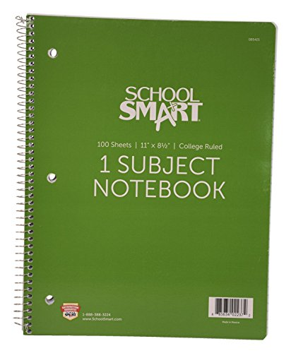 School Smart - 85421 Spiral Non-Perforated 1 Subject College Ruled Notebook, 11 x 8-1/2 Inches