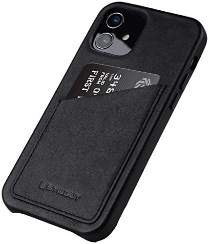 StilGut Cover kompatibel mit iPhone 12 Mini Hülle mit Kartenfach, Hülle aus Leder, Kartenhülle - Schwarz Nappa