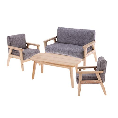 Fityle 1:12 Doll House Miniatures Furniture Tea Table Single Double Sofa Bench Home Item