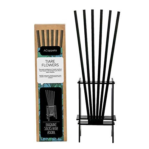 ACappella Pre-Fragranced difusor de lámina de Palos con Soporte Flores Tiare Perfume - Sticks habitación Gift Set - No líquido Necesario - 3 x 6 Piezas (Pack de 3)