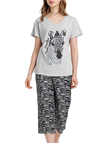ENJOYNIGHT Damen Nachtwäsche Tops mit Capri Hosen Pyjama Sets(Medium,Grey Zebra)