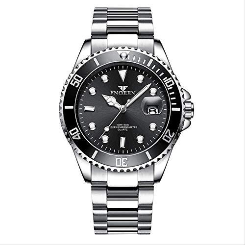 Großer Tisch Kalender Leuchtende Uhr Herren-Mode Dribbeln Wasserdichten Nicht-Mechanischen Studenten Quarz -Uhr -Weißer Stahl Schwarzes Gesichts